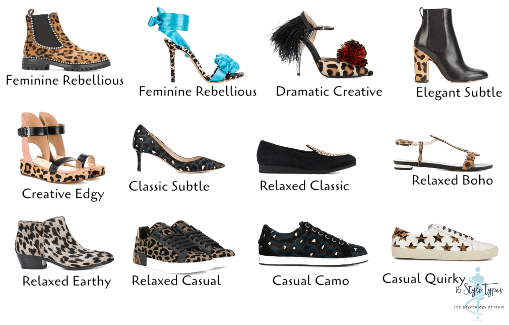 Shoes of all spots showcasing how leopard can be interpreted by all the 7 dressing styles